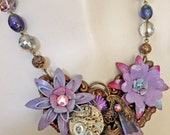 Vintage Enamel Flower -  Lilac, Lavender, Blue Steampunk Necklace - Statement - OOAK
