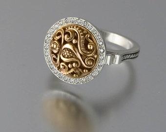 OLGA 14K gold silver ring with topaz halo