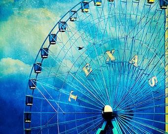 Texas State Fair - Texan Photography - Dallas Photos - Fair Park - Travel - Ferris Wheel - Blue - Dramatic