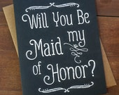 Will You Be My Maid of Honor Card Asking Maid of Honor Proposal Bridal Party Cards Pop the Question Bridesmaid Matron of Honor Elegant Cute