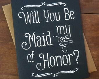Asking Maid of Honor Card Will You Be My Maid of Honor Card Proposal Bridal Party Cards Pop the Question Bridesmaid Matron of Honor Elegant