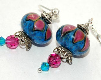 50 PERCENT OFF Pink Flower Earrings, Floral Fantasia, Blue, Fuchsia, Sparkly Swarovski Crystals