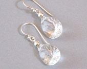 Rock Crystal Briolette Earrings Sterling Silver Drop Dangle Clear White Minimalist Bridal