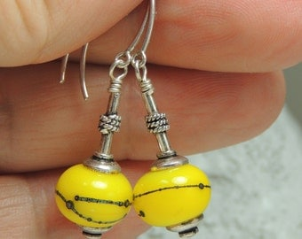 LEMONS Handmade Lampwork Dangle Earrings