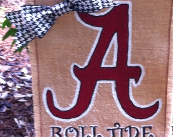 Alabama Roll Tide Collegiate Collection Burlap Garden Flag