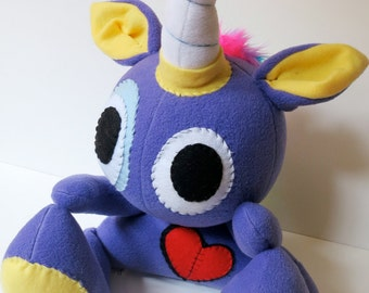Rowdy One Horn - Jumbo purple plush unicorn with rainbow mohawk, stuffed unicorn plush, unicorn softie