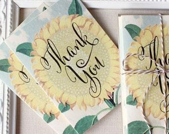 Sunflower Botanical Thank You Notes set of 5 Blue Skies Lace Doily