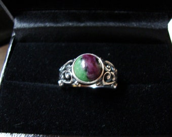 Ring -Ruby Zoisite set in eco-friendly sterling silver filigree sourced from recycle - Custom Made in your Size - a little July and May