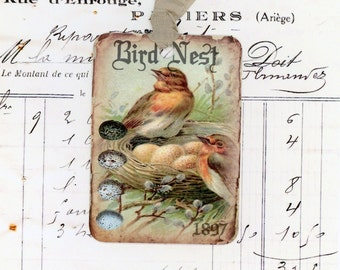Bird Nest Gift Tags , Vintage Tags , Shabby Tags , Bird Eggs Tag , Rustic Tags