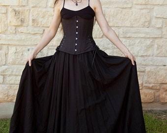 Black Linen Long Renaissance Skirt Halloween Costume