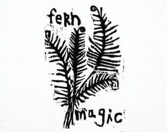 "fern woodblock limited edition print / 9""x12"" wall art"