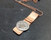 Copper Sterling silver Flower  Metalwork Pendant Copper Chain Necklace Friendship Necklace Handmade Jewelry # 91