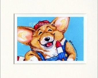 "Evie Anderson Welsh Corgi Art SIGNED PRINT ""Bob's Rocket Pop""  (quality, signed, matted) Pembroke Dogs"