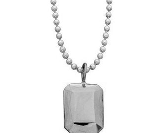 Modern Rock Emerald facet necklace in sterling silver