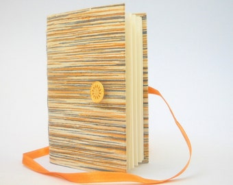 Grey Mustard journal notebook, Lined paper for writing, Raw silk fabric cover with stripes, Personal handmade diary, Opens with brass button