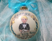 Our LIttle Ringbearer Original Handpainted Personalized Ornament WITH DISPLAY STAND
