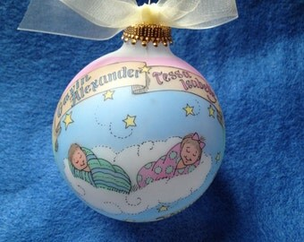 NEWBORN TWINS Baby Baptism Keepsake Ornament, Handpainted, Personalized, Totally Original with FREE display stand