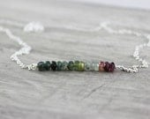 Rainbow Tourmaline Necklace, Sterling Silver Necklace, Gemstone Bar Necklace, Pink Blue and Green Necklace, Delicate Necklace