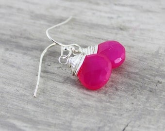 Sterling Silver Earrings, Hot Pink Earrings, Bright Gemstone Earrings, Dangle Earrings, Drop Earrings, Wire Wrap Earrings, Neon Pink