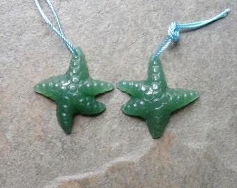 Fantastic Green Agate Carved Starfish Earring Beads -  29x27mm - Matched Pair