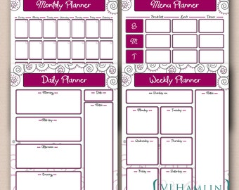 PRINTABLE Planner Set - Daily Planner - Weekly Planner - Menu Planner - Monthly Calendar - Instant Download / Swirly Dots