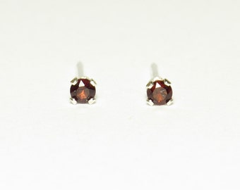 2mm Dark Red Faceted Natural Garnet Post Earrings in Sterling Silver : January Birthstone / Tiny Stud Earring / Cartilage Earrings/ Everyday