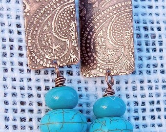 Turquoise Howlite, Lampwork,  Etched Paisley Mendhi, Copper  Earrings Handmade Copper Jewelry Gypsy Boho SRA Artisan jewelry