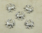 5 Crab Beads - Summer Ocean Beach Cancer > Silver Finish American made - Lead Free Pewter - I ship internationally