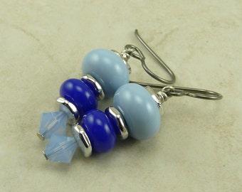 Casual Friday Denim Blue Lampwork Bead Earrings - Royal Blue Periwinkle - Hypoallergenic Niobium Ear Wires