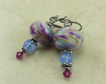 Fantasy Whimsy Lampwork Bead Earrings > Lilac Rose Pink Flower Floral Silver Swarovski Periwinkle - Hypoallergenic Niobium Ear Wires