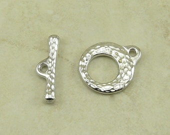 TierraCast Makers Toggle Clasp - Small Petite Hammered Distressed - Rhodium Silver Plated Lead Free Pewter - I ship Internationally 6202