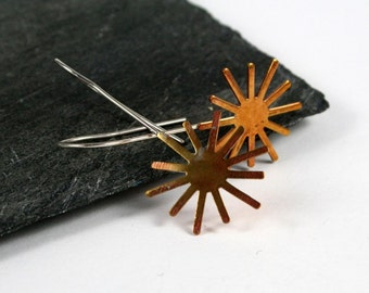 Brass Starburst & Sterling Silver Earrings