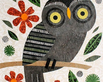 Charcoal Owl With Orange Blooms