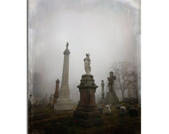 Surreal, Fog, Gothic Home Decor, Angel, Foggy, Monochrome, Goth Print, Distressed Art, Graveyard, Wide Angled Photograph - Gothic View