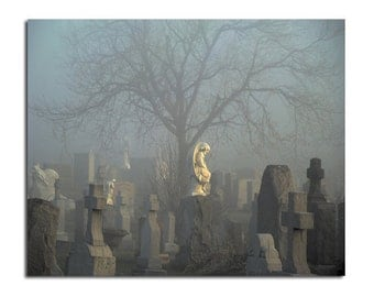 Halloween Art Image, Surreal, Pro-Photograph, Blue Gothic Decor, Original, Stone Angel - Ghost Fog