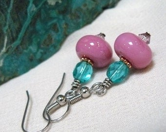 Pink Lampwork Glass Earrings ~ Glass Bead Dangle Earrings ~ Pink Earrings ~ Aqua Earrings ~ Lampwork Earrings ~ Lampwork Dangle Earrings