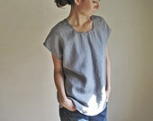 Stone Gray Linen Tunic Top, Medium Gray Blouse, Flax Tshirt, Organic Clothing, Linen Tee Shirt, Custom Handmade