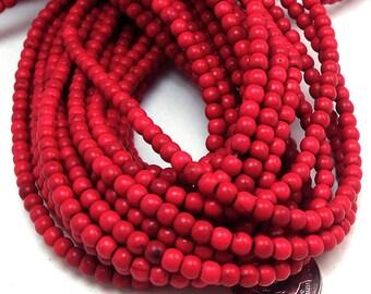 105 Red Howlite Beads 4MM round  (H7040)