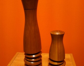 Multi-Axis Woodturned Peppermill and Salt Shaker Set