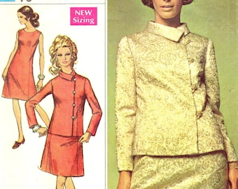 Simplicity 7903 DESIGNER FASHION Dressy Sleeveless Dress with Off Center Buttoned Jacket BUST 41
