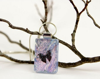 Butterfly Jewelry- Butterfly Pendant- Butterfly Necklace- Fused Glass Jewelry- Dichroic Glass-