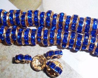 Sapphire Blue Rhinestone Czech Crystal 8mm Rondelles