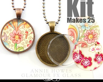 25mm Circle Glass Domes or Flats Kit. 1 Inch Clear Glass Pendant Kit, Pendant Trays, Glamour Seal, and 25 Ball Chains. Makes 25.