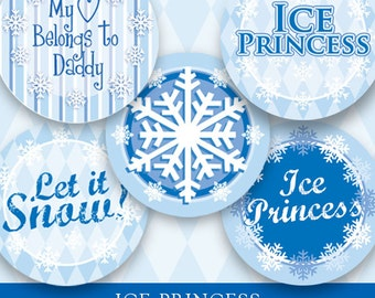 """Instant Download Ice Princess Digital Download for Bottle Caps 1"""" Circles"""