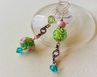 SPRING THOUGHTS - Asymmetrical Beaded Earrings - Free Shipping