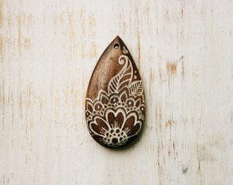 Henna Flower Hand Painted Wood Pendant White Paint on Stained Wood