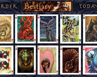 Limited Edition Bestiary Animal Playing Card Deck - Animal Tarot Animal Oracle Art Cards Gift Red Panda Lion Tiger Wolf Turtle Hyena Eagle