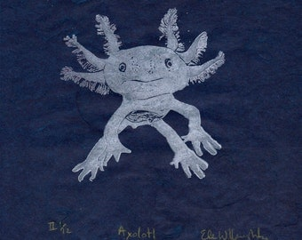 Axolotl Mexican Salamander Linocut Print - Mexican Walking Fish, Salamander, Axolotl Lino Block Print