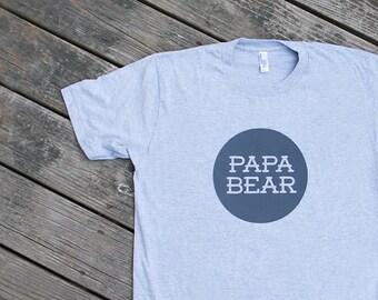 Papa Bear Heather Grey Cotton TShirt with Grey print
