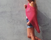 red poncho, loose knit poncho, red cotton Poncho, knitwear, beach cover up, women's poncho